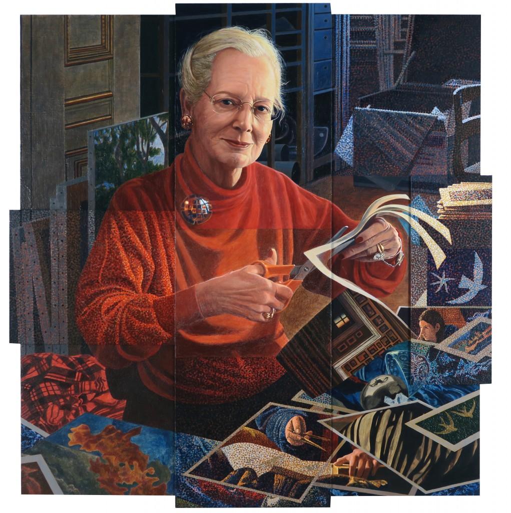Allegori over skabelse. Decoupage og portrætmaleri,  2015-16  (94x94x0,5 cm)